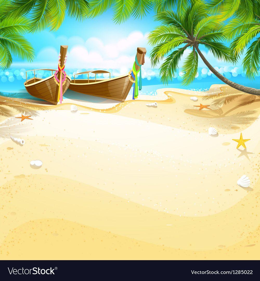 Paradise Island Vector Image On Vectorstock Paradise Island Background Design Vector Holiday Background