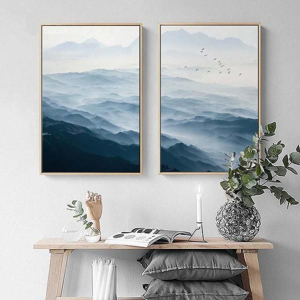 Foggy Mountain Landscape Canvas Posters Landscape Wall Art Mountain Wall Art Landscape Canvas