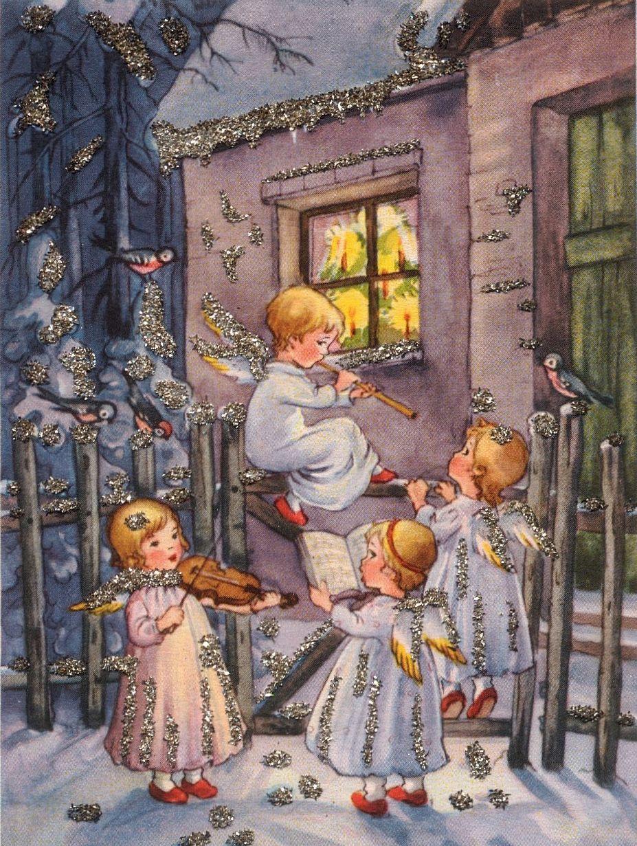 Надписью, старые рождественские открытки с ангелами