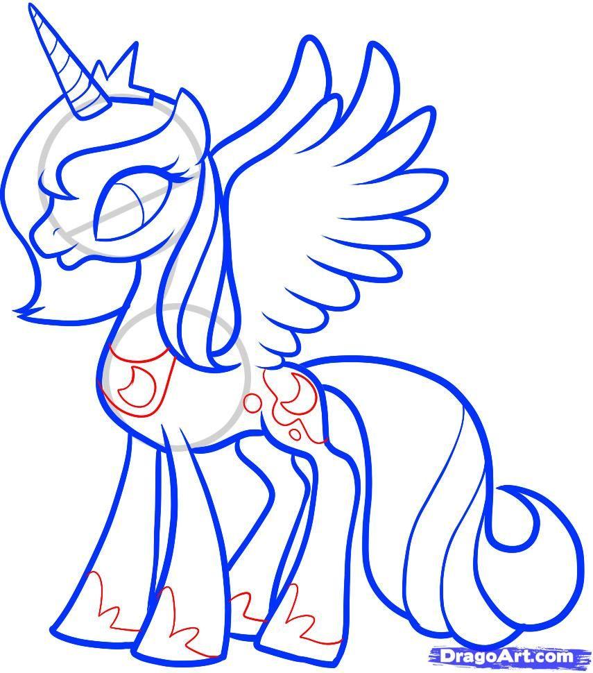 How To Draw Mlp | Step 10. How to Draw Luna, Princess Luna, My ...