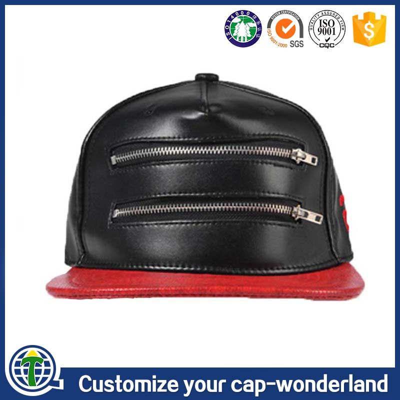 Custom Wholesale Cheap Blank Leather zipper logo snapback caps and hiphop  hats e70d9d78463c