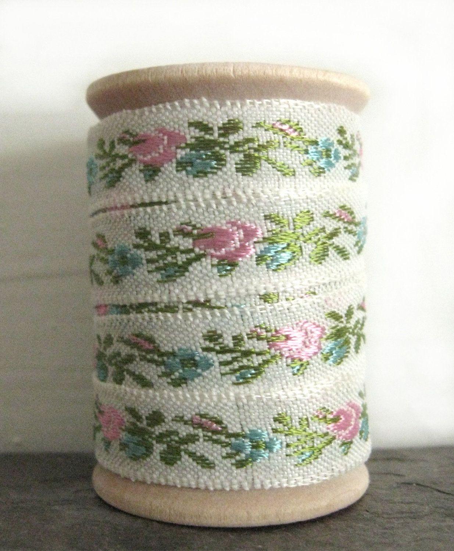 Vintage Pastel Floral Jacquard Trim