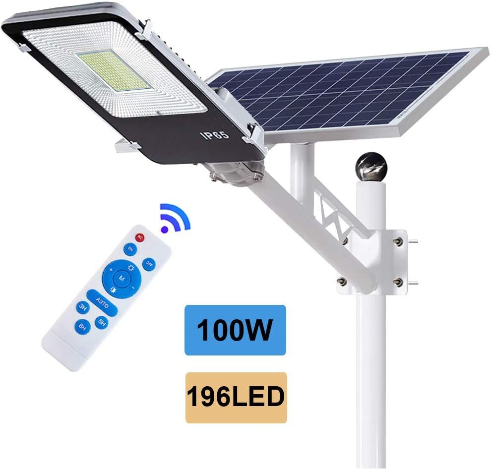 Eco Worthy 100 W Solar Street Flood Lights Outdoor Lamp 196 Led White 6500k With Remote Control Dusk In 2020 Solar Powered Flood Lights Outdoor Lamp Outdoor Lighting