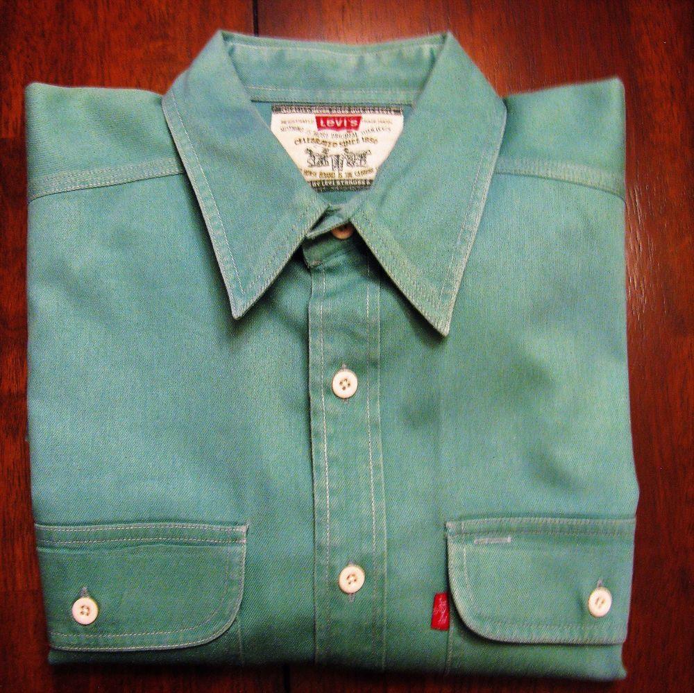 539ec077c20 Vintage Levis Denim Shirt Green Work Shirt Western Mens XL Pockets Red Tab  Chore