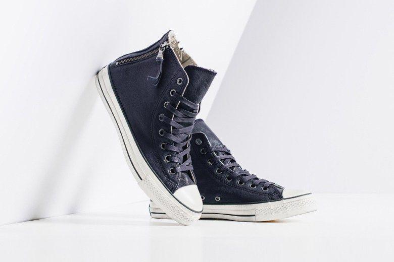 f708d2113e4221 John Varvatos x Converse Leather Double Heel Zip Hi Navy