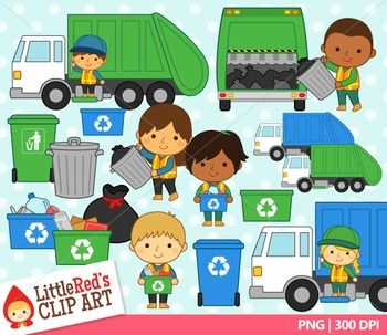Community Helpers Trash Collectors Clip Art With Blacklines