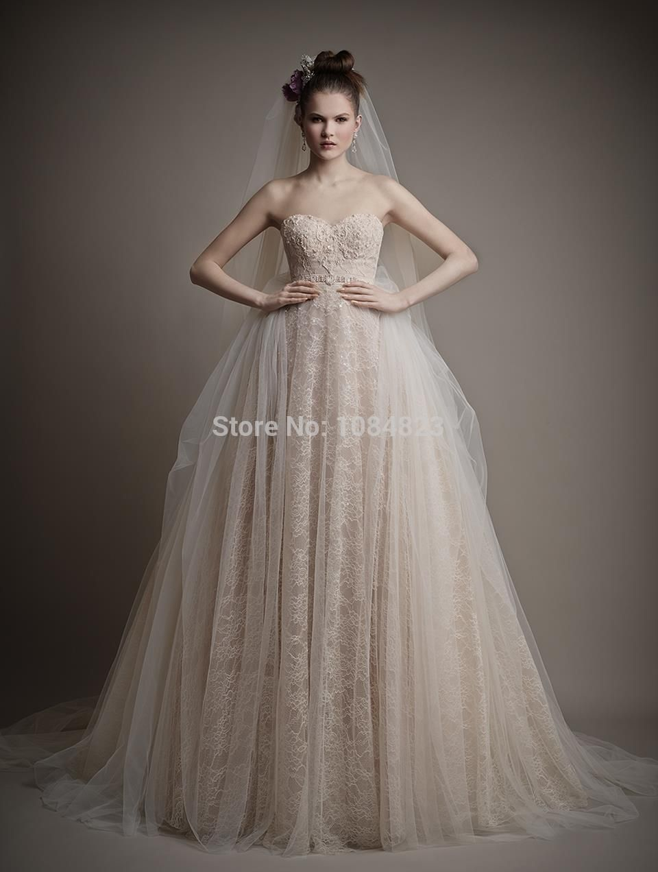 Champagne Tulle Wedding Dress