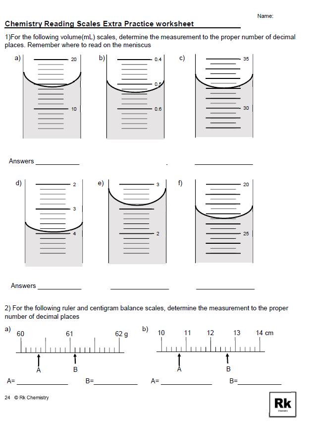 Reading Measurement Scales In Chemistry Science Example Worksheet Practices Worksheets Reading Practice Worksheets