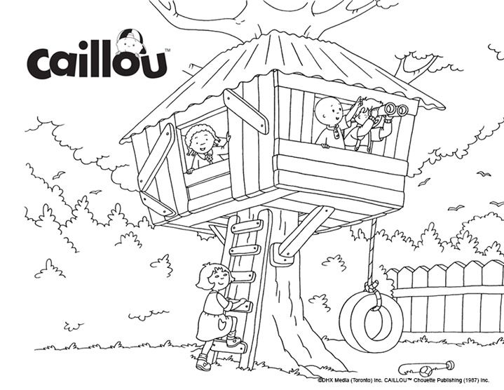 Caillou S Treehouse Fun Coloring Sheet Caillou Colouring Pages Coloring For Kids