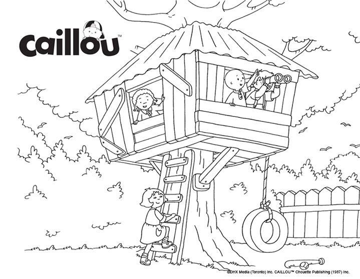 Coloriage caillou la cabane dans les arbres play - Coloriage de cabane ...
