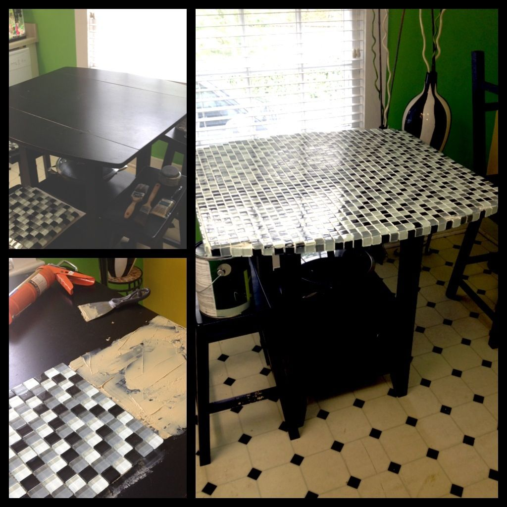 Kitchen Table Top Tiles: Refurbished An Old Run Down Kitchen Table With Small Glass