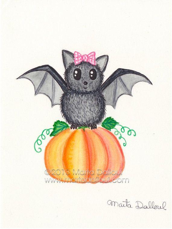 Bat Pumpkin Watercolor Art Print Cute Bat Illustration