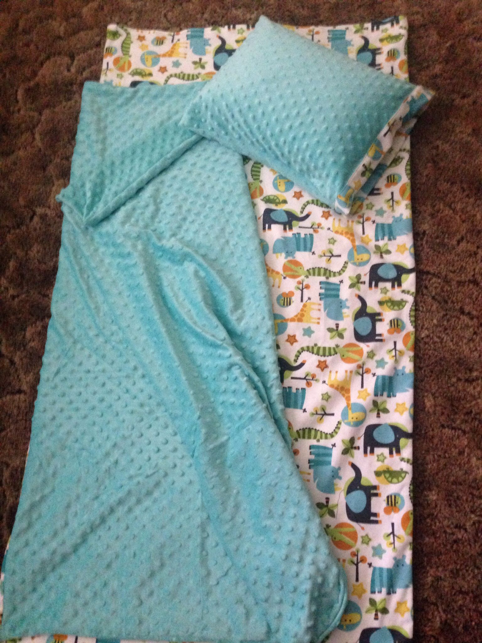 Nap Mat Cover With Attached Minky Blanket Nap Mat
