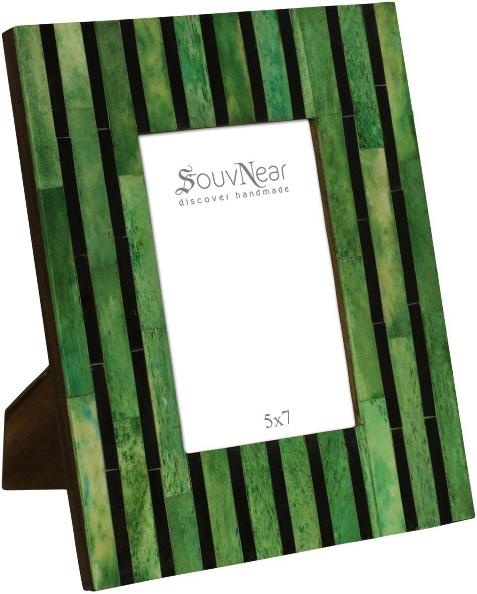 Photo Frame In Natural Bone Mdf 4x6 Handmade Green