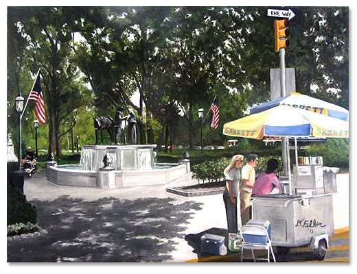 """""""Morristown Green,"""" 2013 18 x 24 inch oil on canvas Scenes of Morristown NJ by artist Donald Felber"""