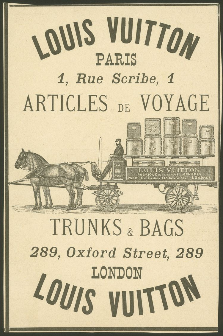 Les Arts Décoratifs - Louis Vuitton & Mark Jacobs - Affiche « Louis Vuitton, articles de voyage, Paris ; trunks and bags, London », 1887 #paris #design