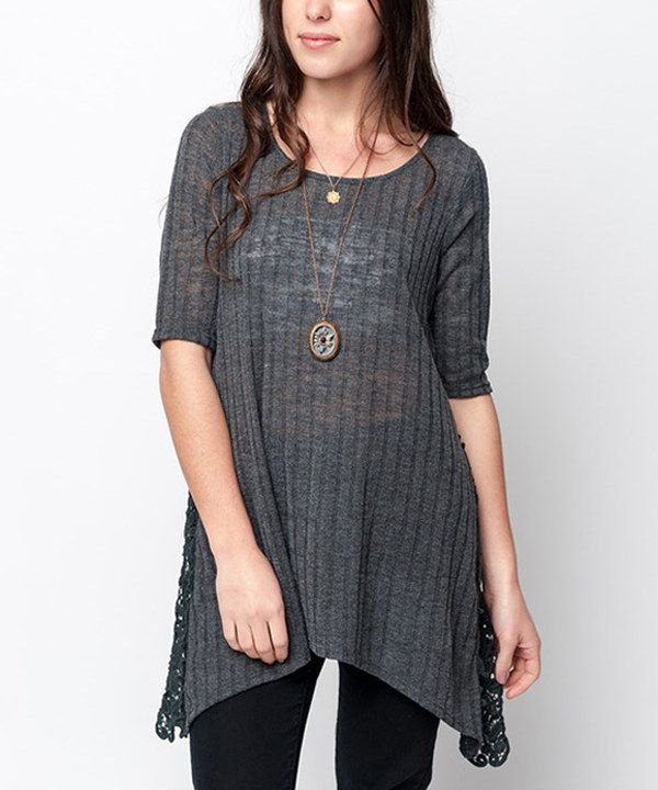 Look at this Caralase Charcoal Side-Crochet Sidetail Tunic on #zulily today!