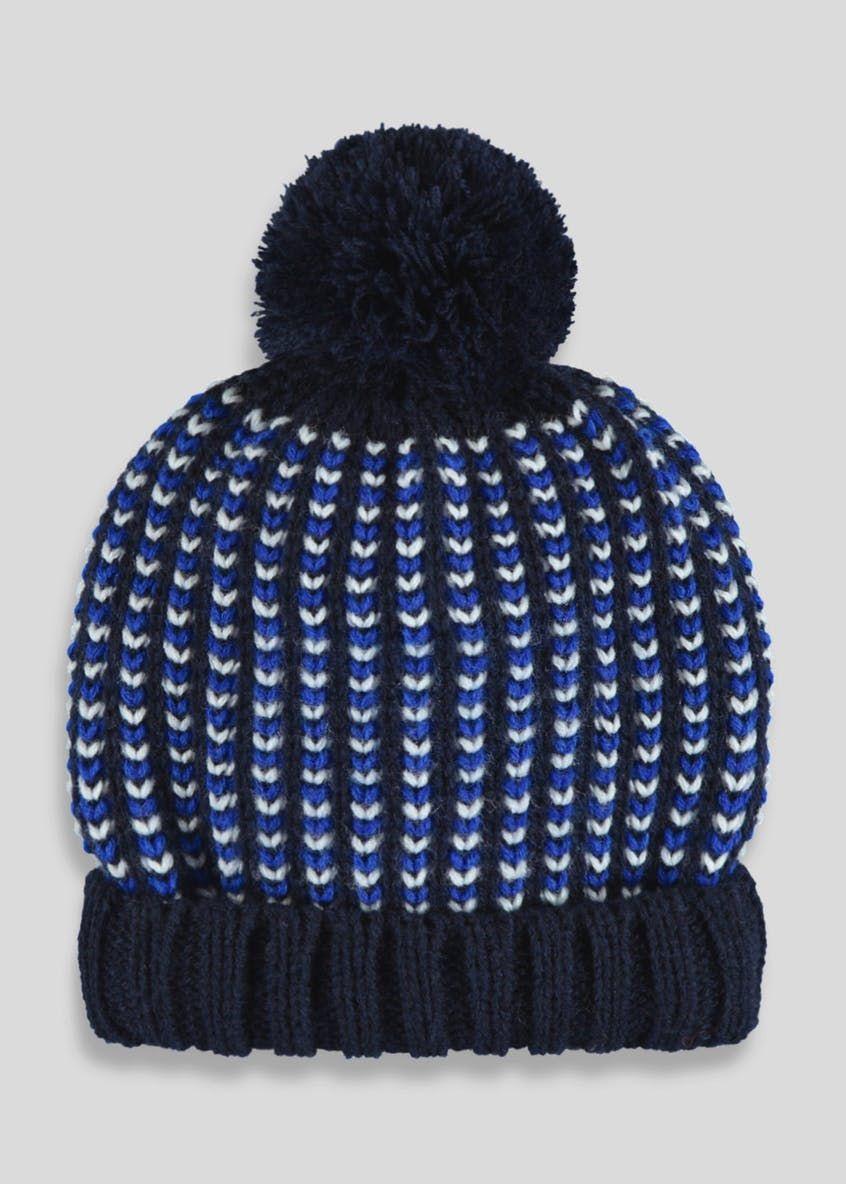 57eb7f13a10 Boys Chevron Bobble Hat (6mths-4yrs)