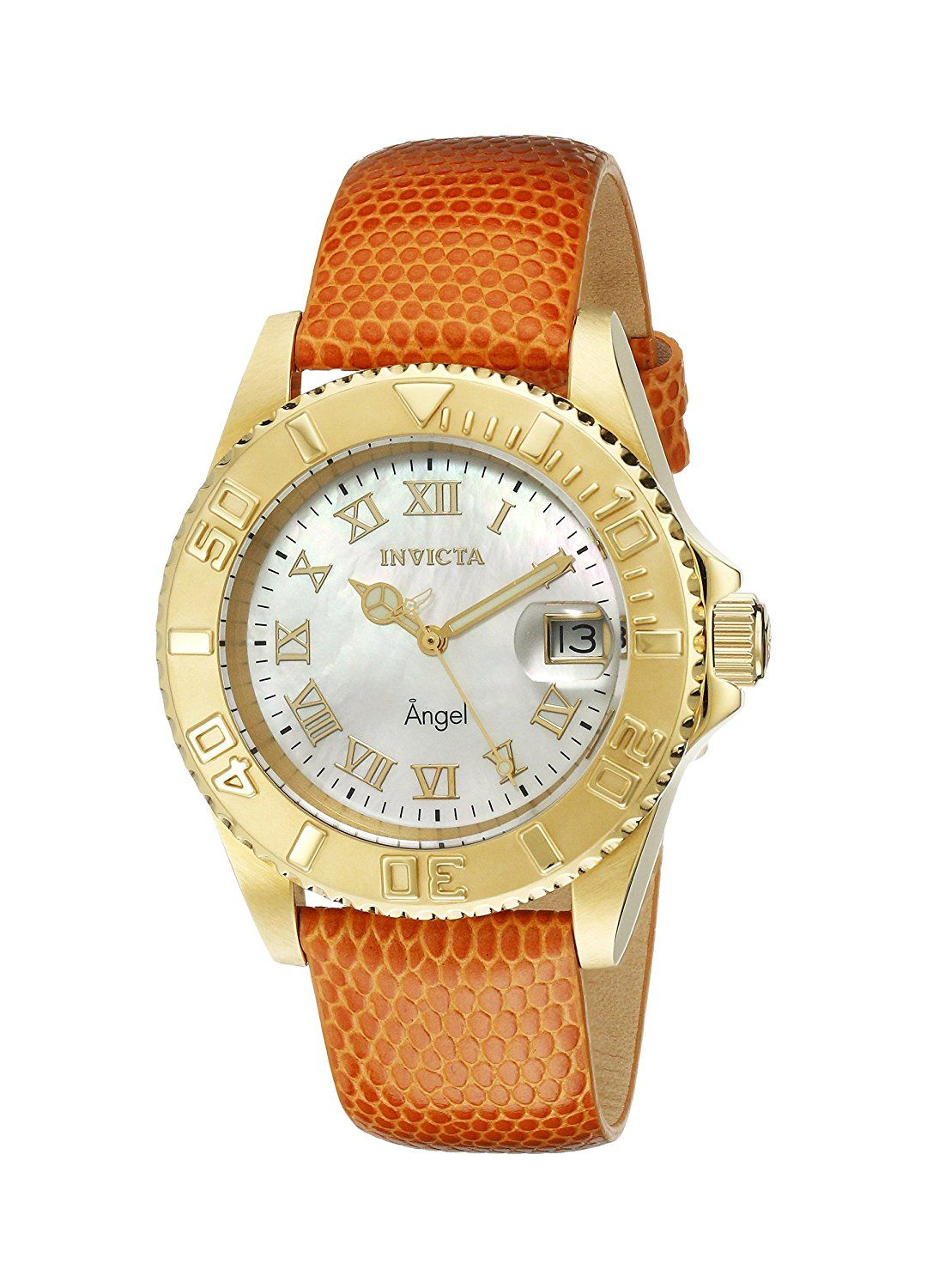 Invicta Women's 18413 Angel Analog Display Swiss Quartz Orange Watch >>> Find out more details by clicking the image