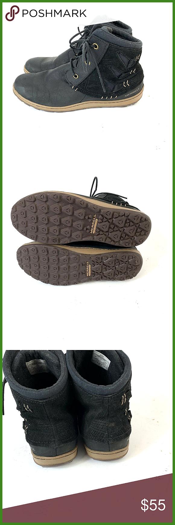 Merrell Womens Ashland Vee Ankle Black Boot Black: