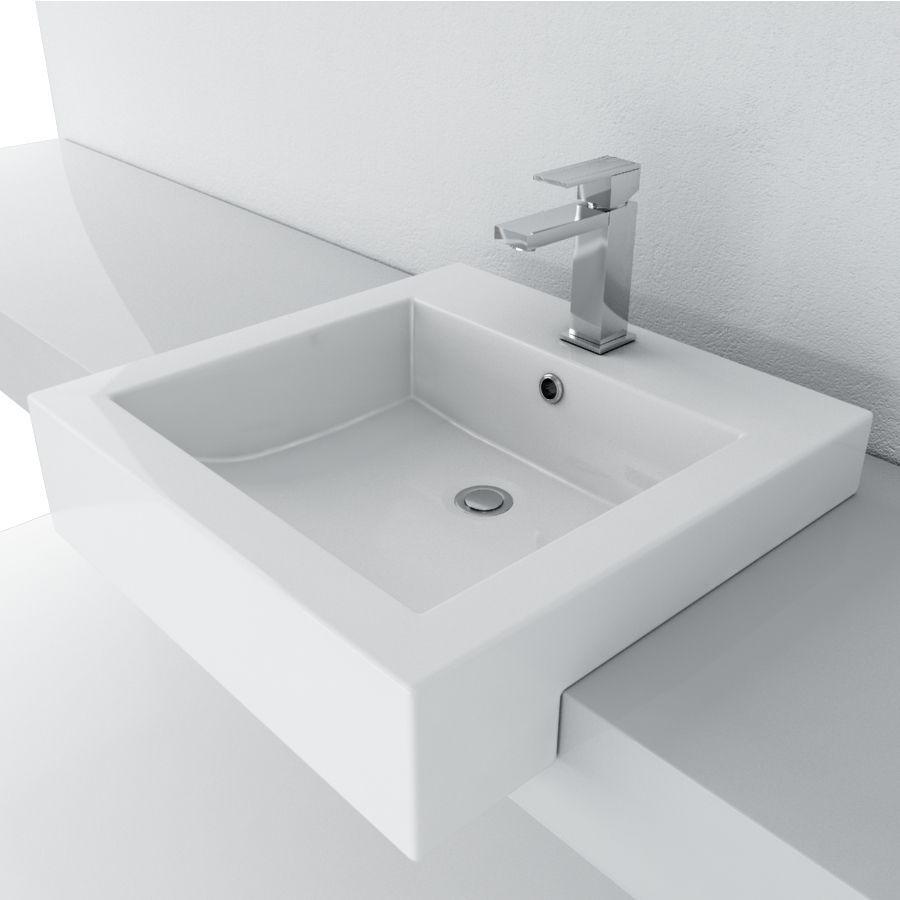 Cantrio Vitreous China Semi Recessed Sink Semi Recessed Sink Sink Diy Bathroom Remodel