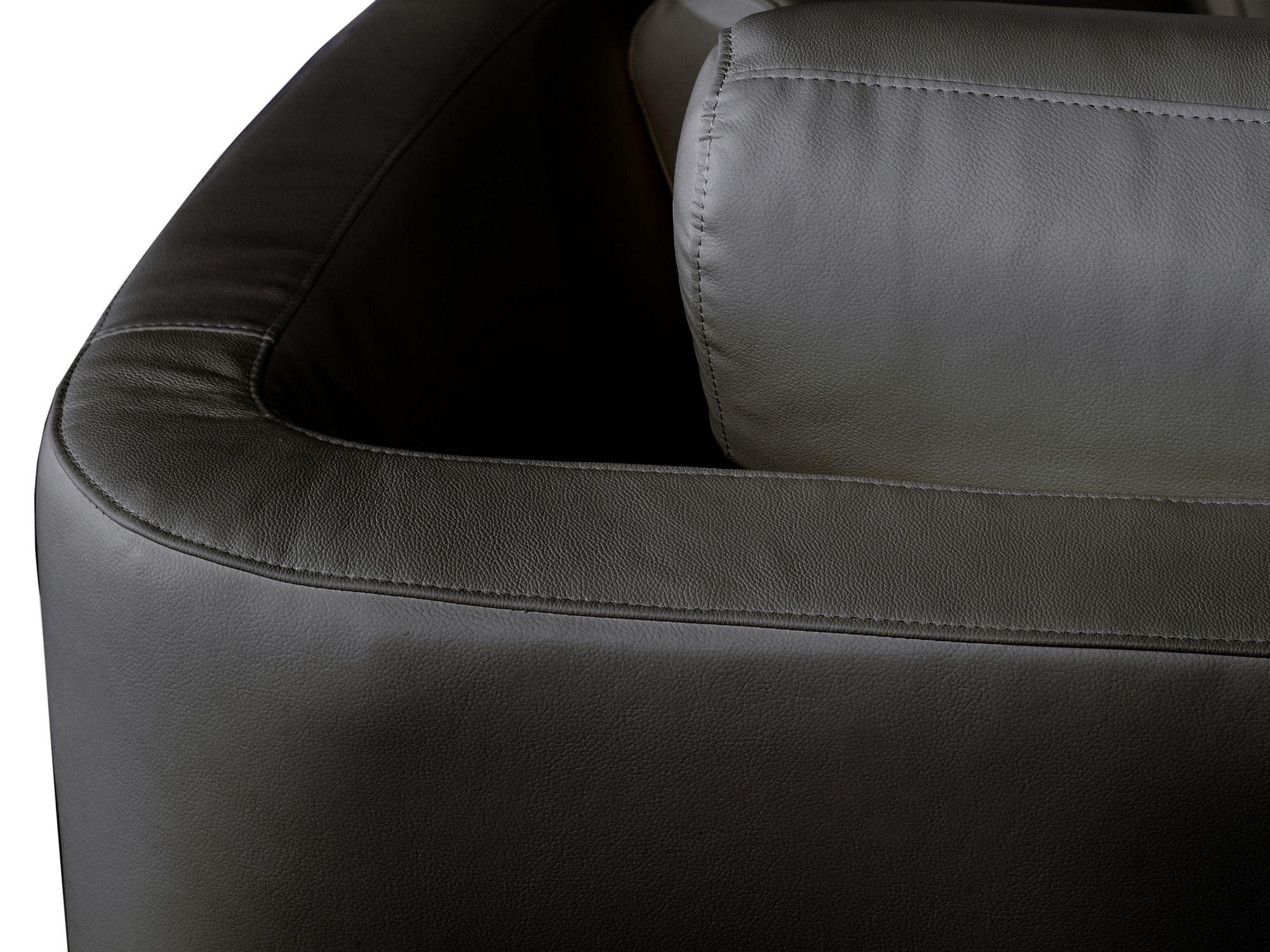 Ledersofa rundes Sofa Ledercouch Couch aus Leder in schwarz