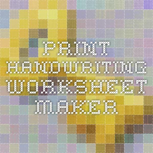 Print Handwriting Worksheet Maker Hs Copywork Pinterest