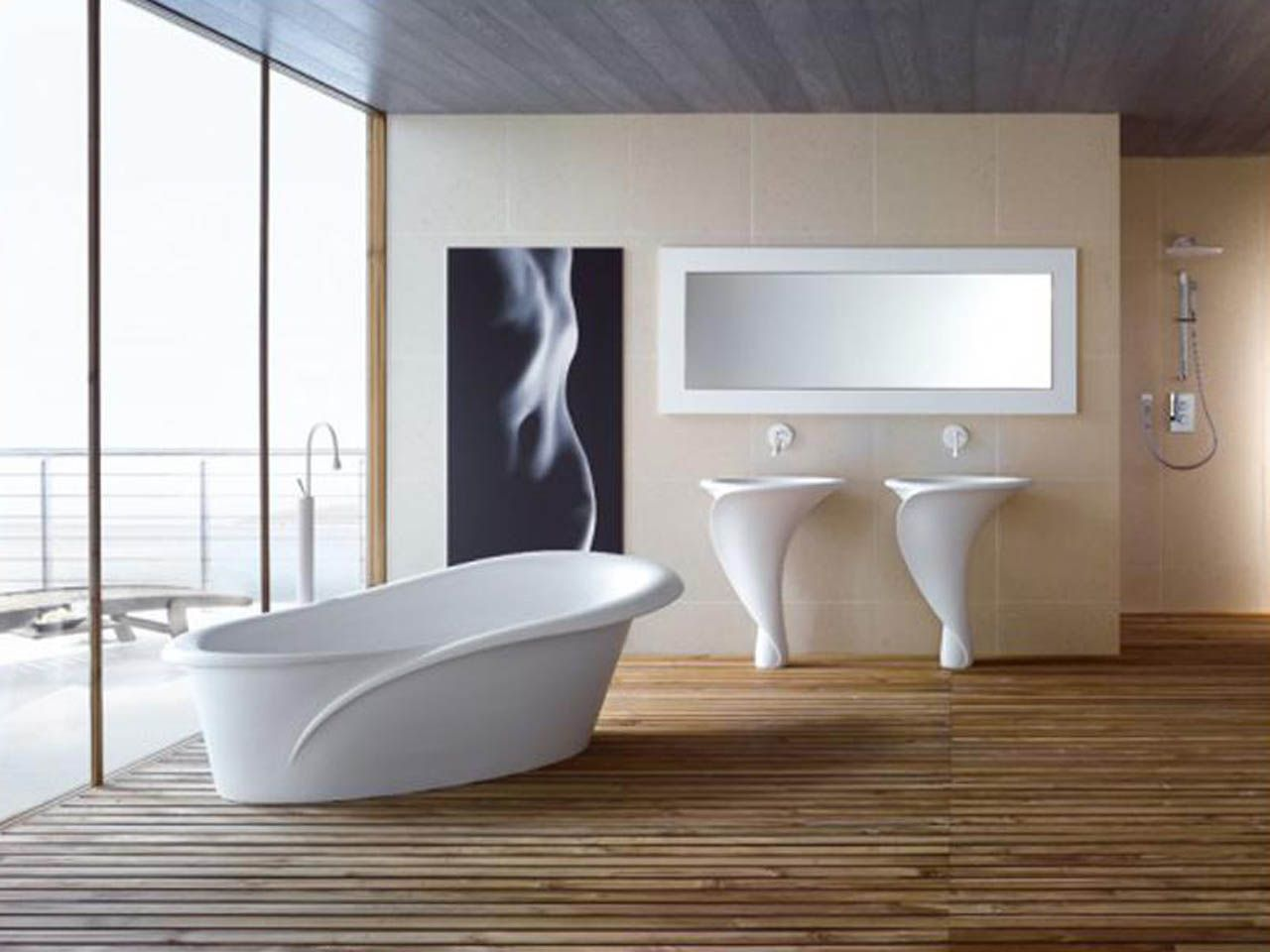 Bathroom Design, Exquisite Sexy Twisting Italian Bathroom Interior Design  Ideas With White Washstand Body Size