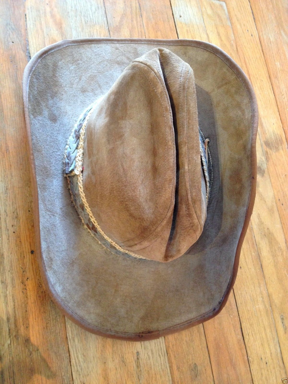 7ca8682b0dd6d Vintage Stetson Billy The Kid Brown Suede Leather Cowboy Western Hat 7 3 8  GUC