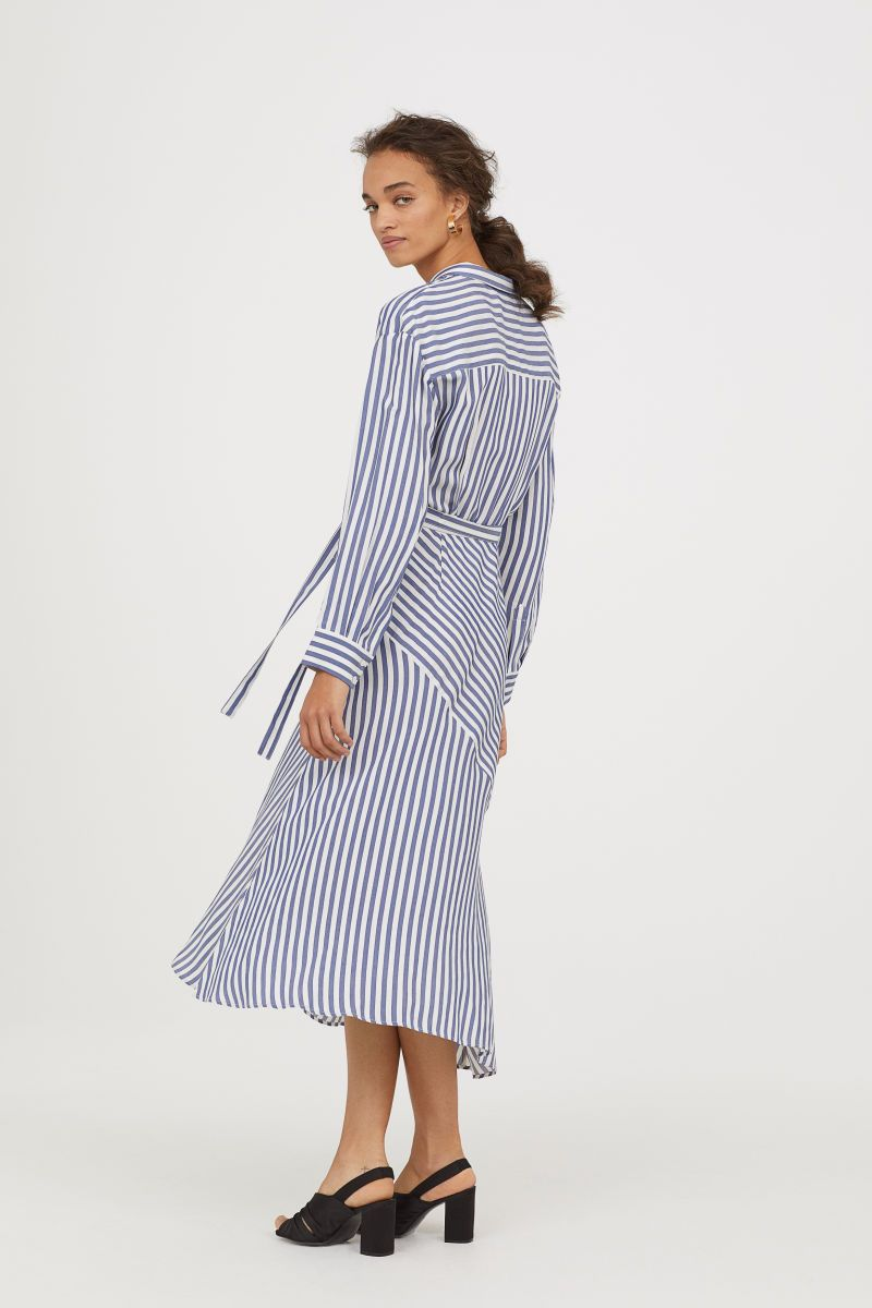 Striped Wrap-front Dress  9e3aaaae4395