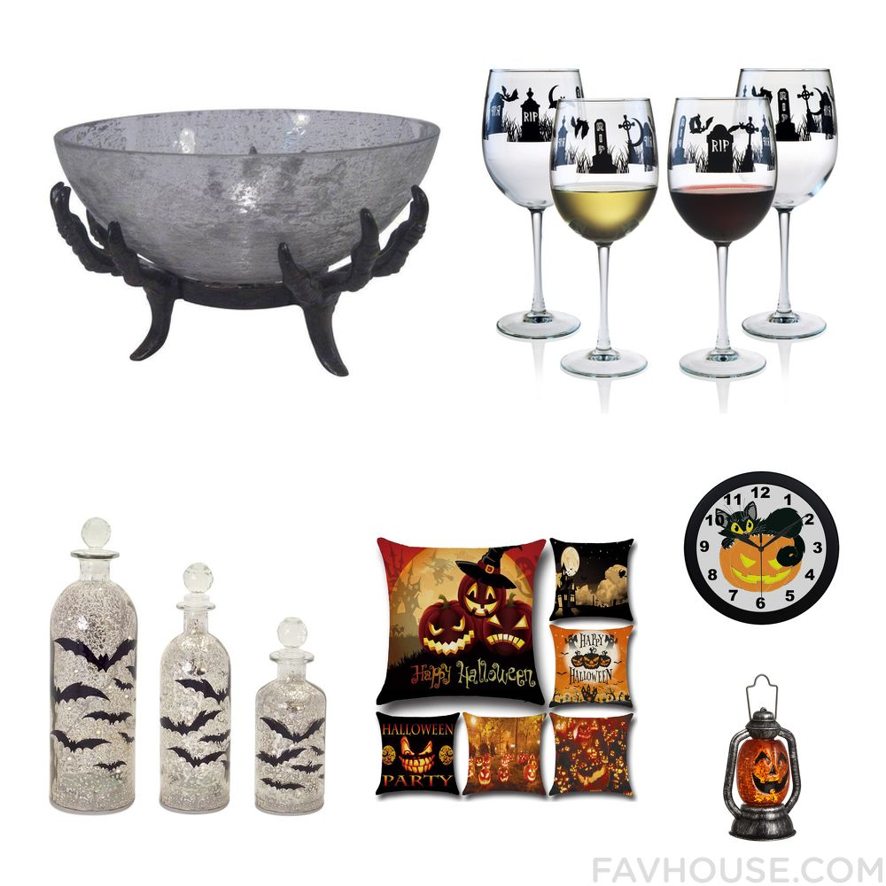 Interior Design Selection Including Serveware Halloween Wine Glasses Melrose  International Holiday Decoration And Halloween Home Decor