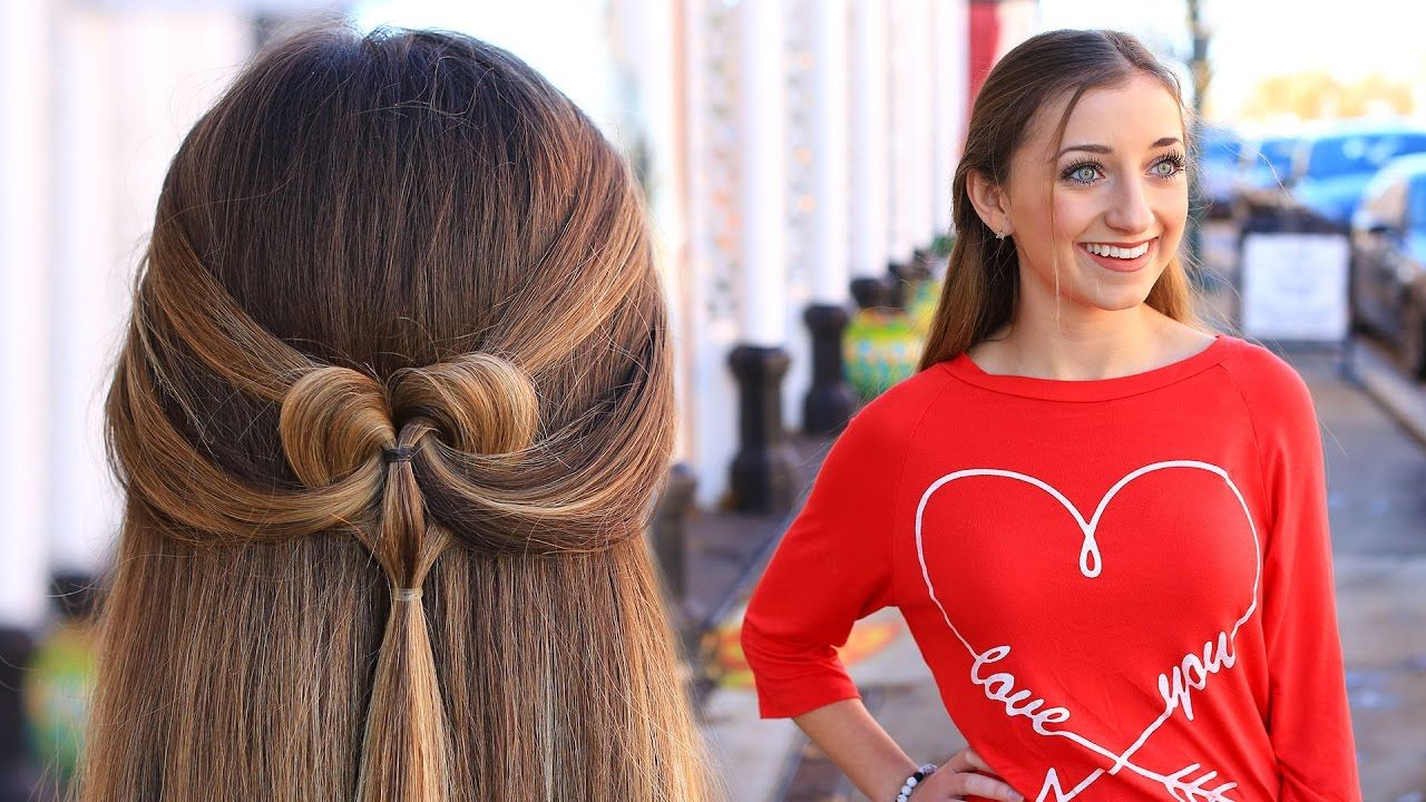 Day Hairstyles For Long Hair: How To Create A Pancaked Heart Half-Up Hairstyle