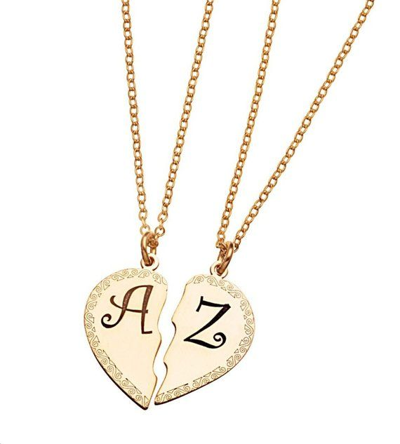 ee5be5692cdb personalized couple heart name letter necklace set