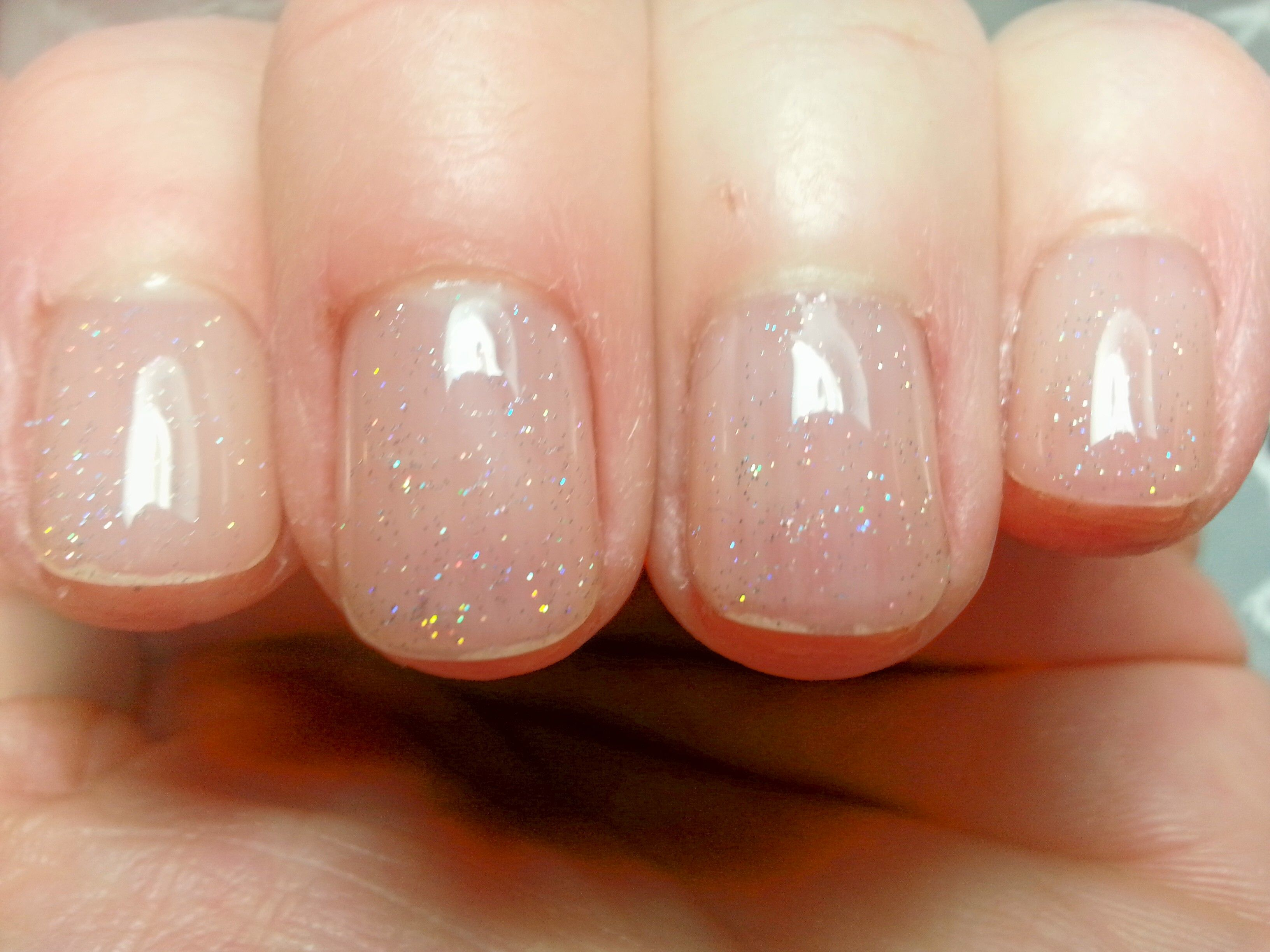 Nails Short Gel Manicure Clear With Just A Touch Of Glitter Adds
