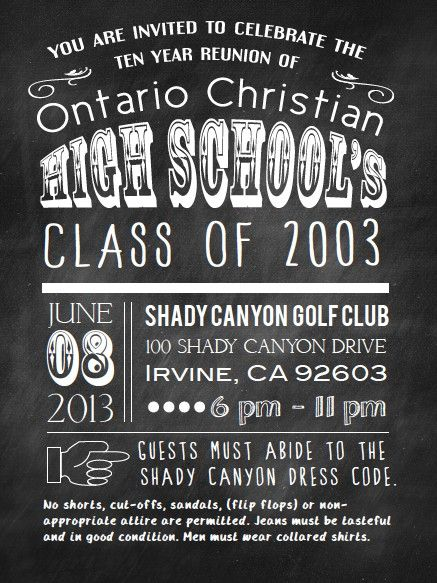 High School Reunion Invite Chalkboard typography invite by Molly - class reunion invitations templates
