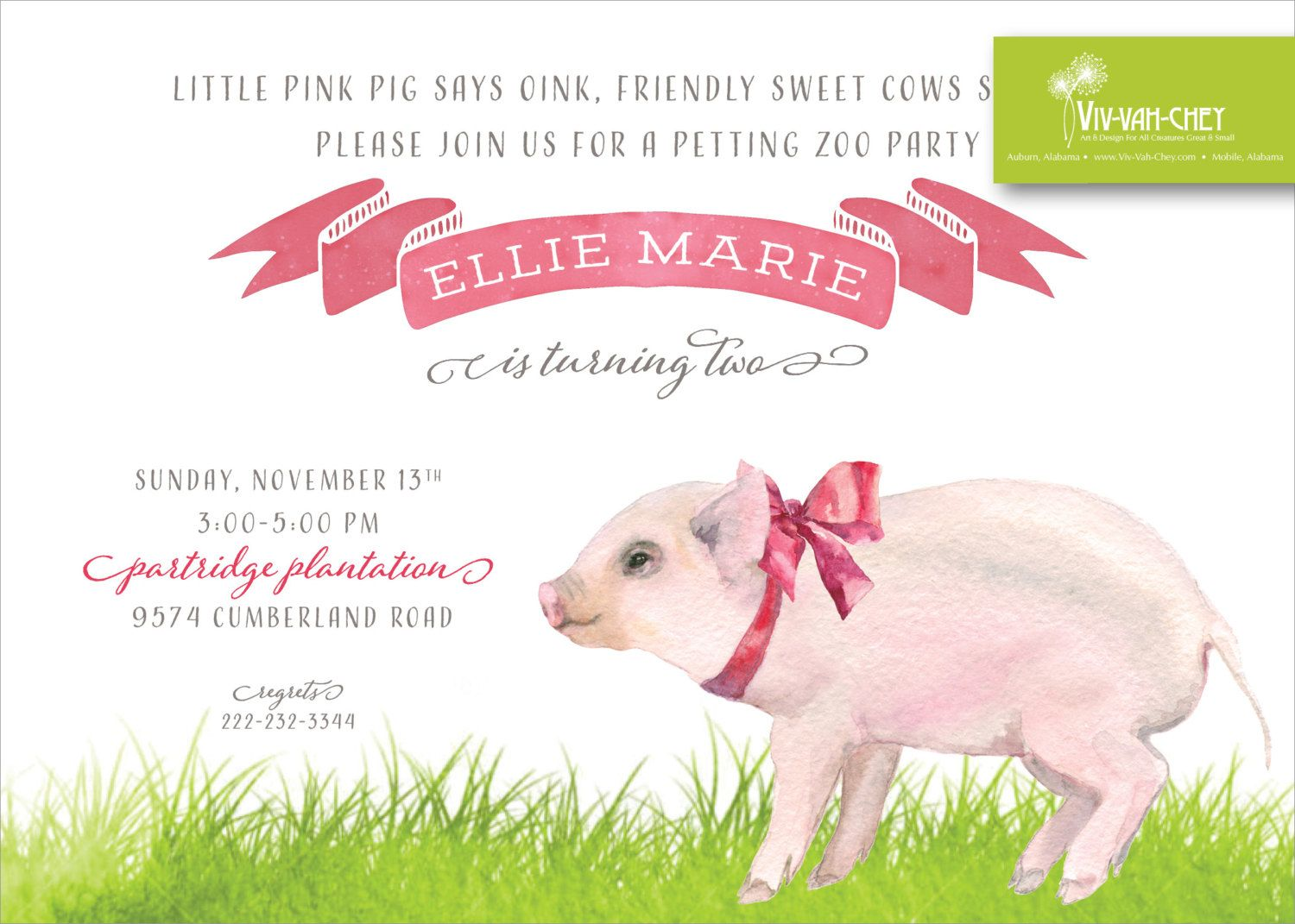 Pretty Pig on the Farm | Birthday Party Invitation by VivVahChey on ...