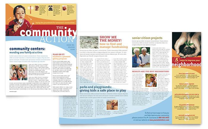 community non profit newsletter design template by stocklayouts