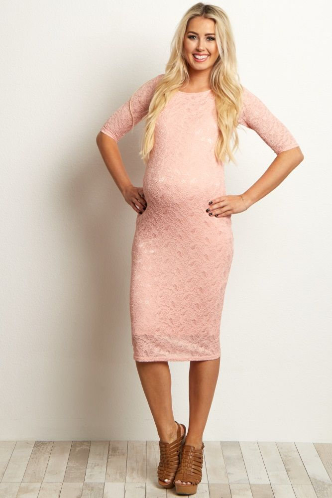 cc6174f93256 Perfect for an evening out, this fitted lace maternity dress is flexible  for any occasion. Pair with a classic heel and statement necklace to look  and feel ...