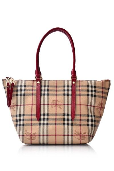 Burberry Haymarket Colours Small Salisbury Tote Red Handbags