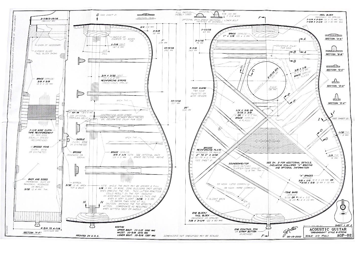 Full Size Blueprint For Dreadnought Style Acoustic Guitar Pl In 2020 Acoustic Guitar Guitar Blueprints