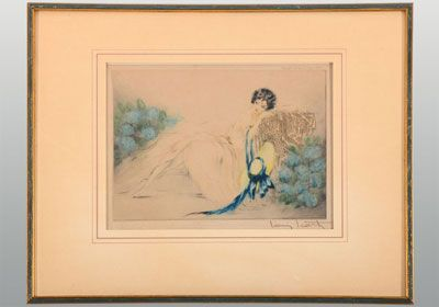 Vintage Framed etching by Louis Icart depicting a woman with bonnet in repose, circa 1930.