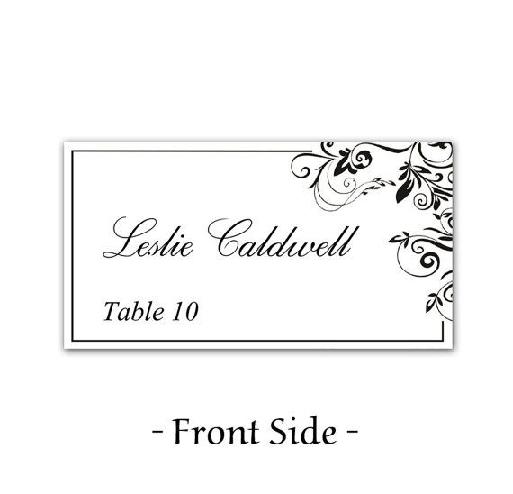 Instant Clic Elegance Black Leaf Ornate Flourish Wedding Place Cards Microsoft Word Template Vines