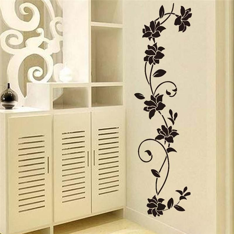 china home decor suppliers black flower vine wall stickers refrigerator window cupboard home decorations diy home decals art mural posters home decor - Diy Entfernbarer Backsplash
