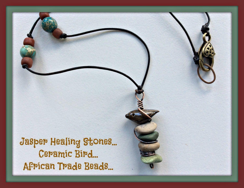 Lake Erie Beach Stone Necklace, Jasper Healing Stones,  Leather Cord, Ceramic Bird Bead, Copper Wire Wrap Necklace, Rustic Organic Necklace by LemonIslandTreasures on Etsy