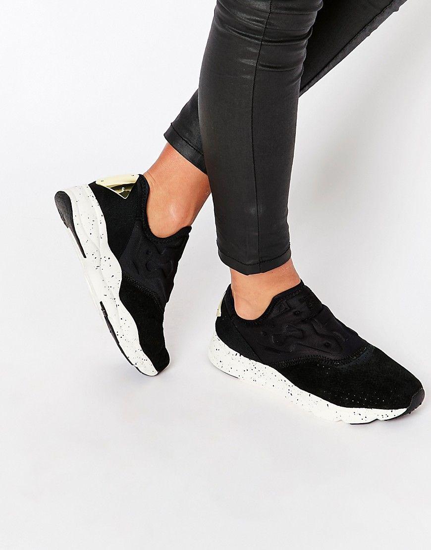 ec5baee0b67 Image 1 of Reebook Black Furylite Slip On With Speckled Sole. Image 1 of  Reebook Black Furylite Slip On With Speckled Sole Trendy Womens Sneakers