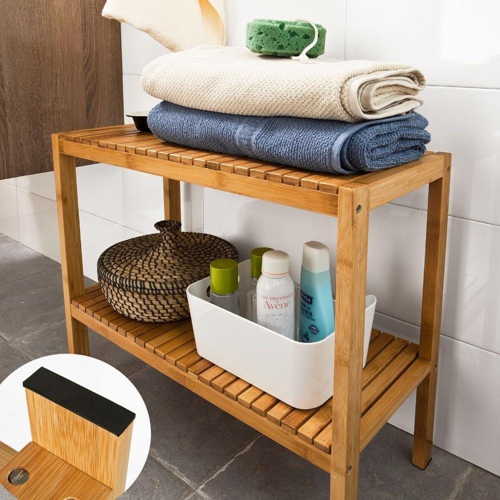 SoBuy FSR14 100 Bamboo Bathroom Shelf Shower Shelf Shoe