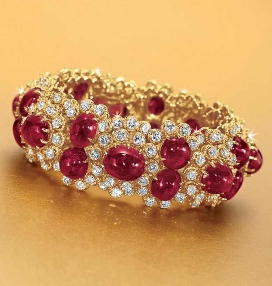 A ruby and diamond bracelet by van cleef u arpels designed as a row
