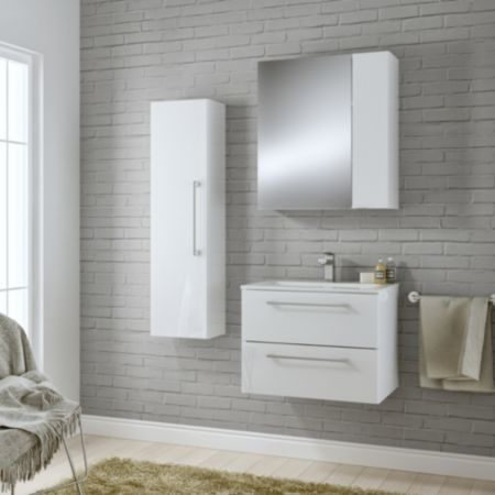 Cooke Lewis Paolo Gloss White Vanity Unit Basin Set Wall