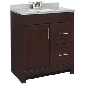 Create Photo Gallery For Website Style Selections Lagosta Java Integral Single Sink Bathroom Vanity with Solid Surface Top at Lowe us Bring bold modern design to your bathroom with this
