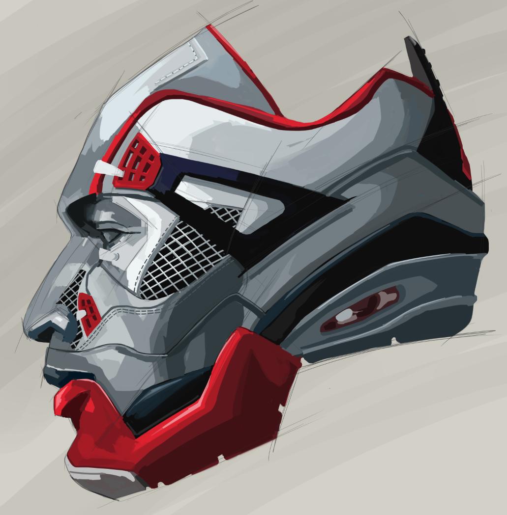 jordan4, art print, sneakers art, concept art, nike, red